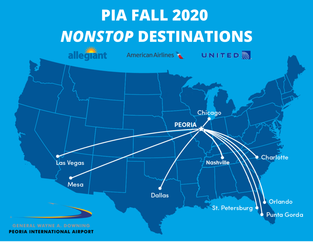 PIA Fall 2020 Nonstop Destinations