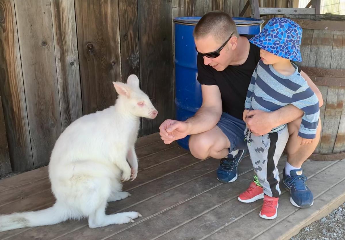 Duane & Son with Kangaroo t Kangaroo Creek Farm