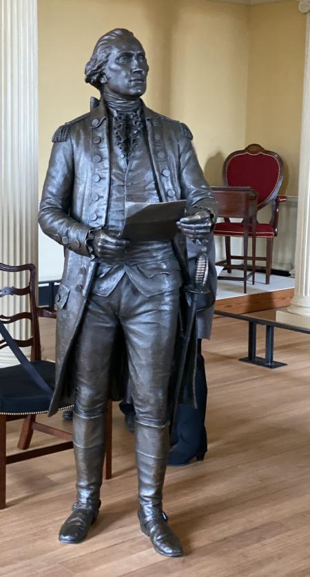 Statue of George Washington in Maryland State House.