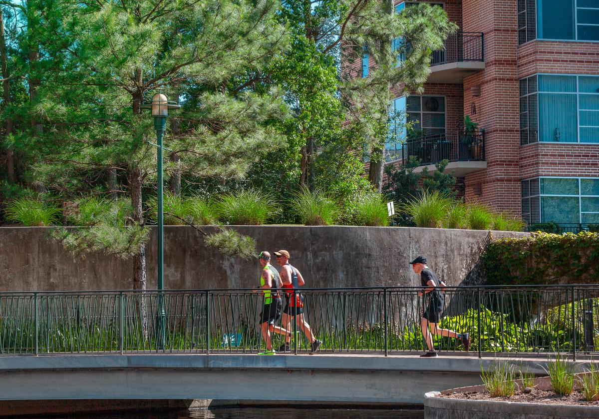Runners Along The Woodlands Waterway