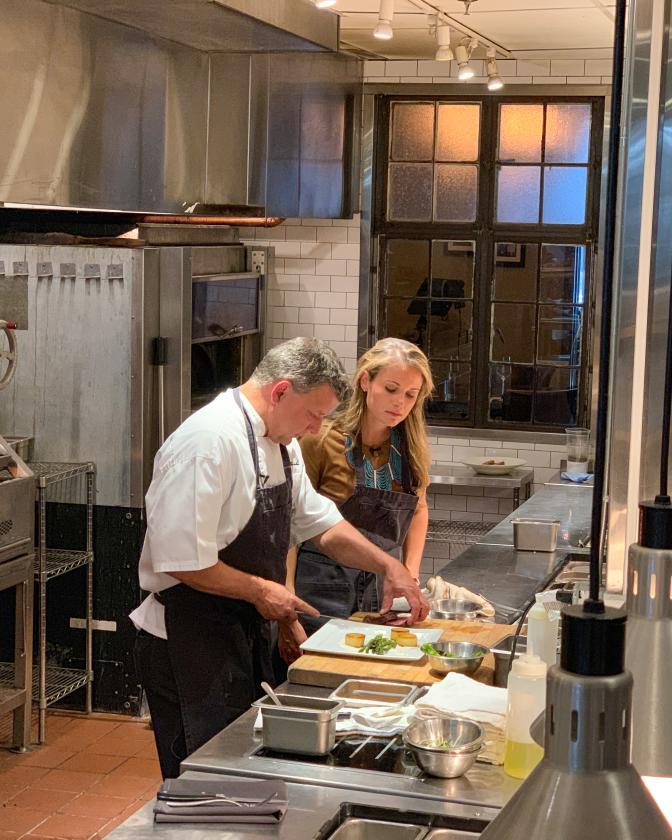 Chef John Murcko and Host Locke Huhges in the kitchen