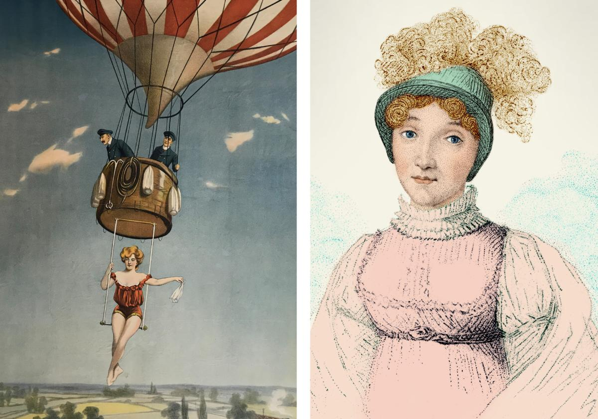 A lithograph of a balloon's trapeze artist & French aeronaut Sophie Blanchard, In Their Words: Stories by Women on the Ground and in the Air, the Anderson-Abruzzo Albuquerque International Balloon Museum