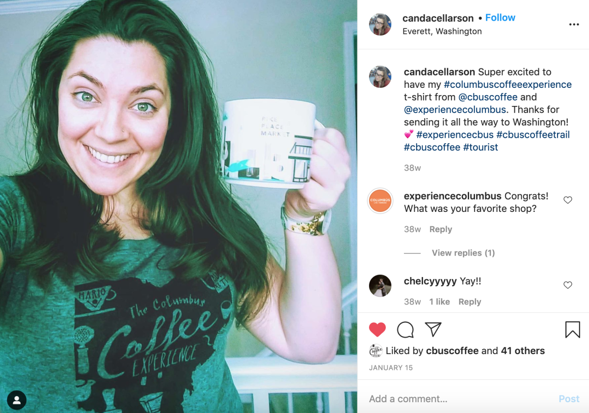 Candace Larson shares joy over receiving her coffee trail shirt on Instagram
