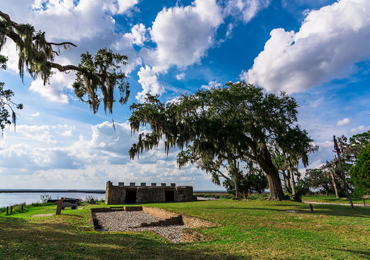 View of Fort Frederica National Monument on St Simon Island in Georgia