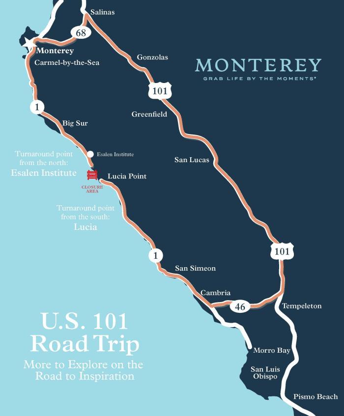 Big Sur Turnaround Map US 101