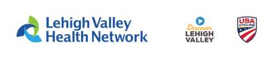 Logos of Lehigh Valley Health Network, Discover Lehigh Valley, and USA Cycling