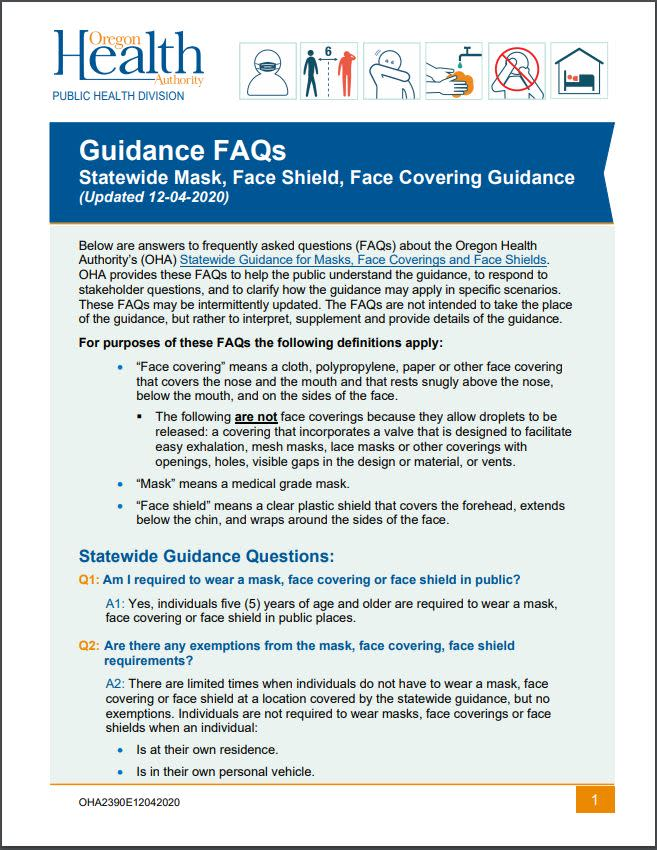 New Mask Guidance FAQs