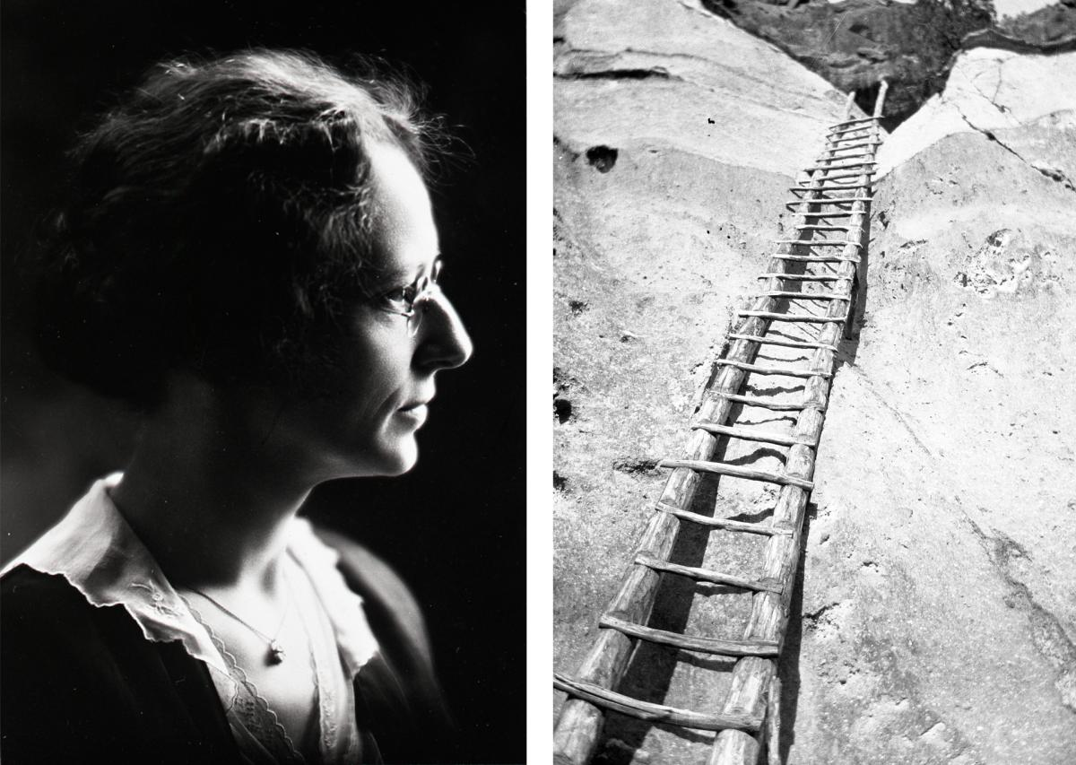 Alabama Milner's portrait, ca. 1930, Alabama Milner photo of the ladder at a cliff dwelling, ca. 1919–50, New Mexico Magazine