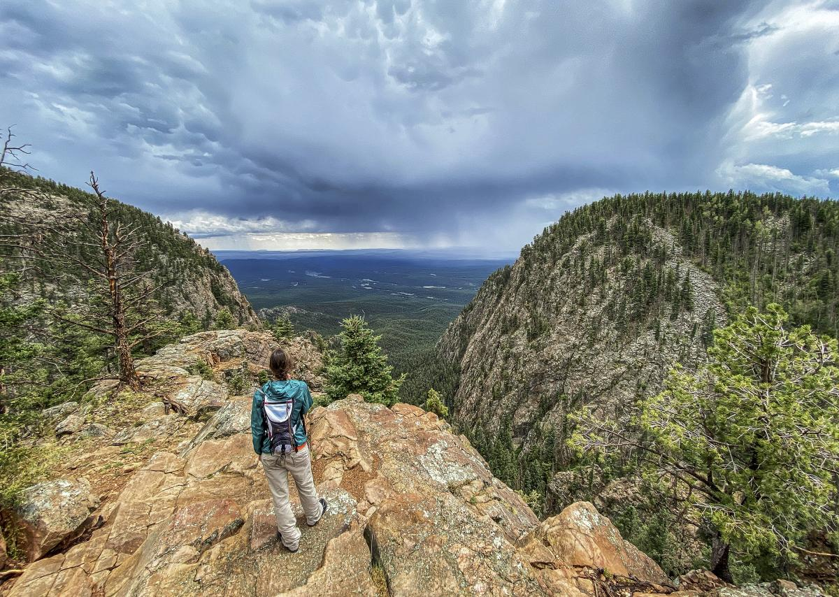 Rasa Lila O'Donnell hiking the Hermit Peak Trail