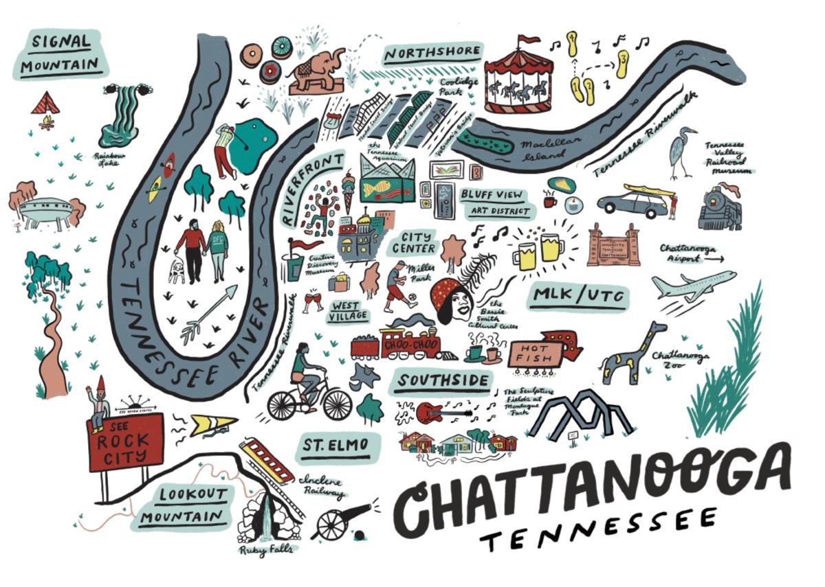 illustrated map white background