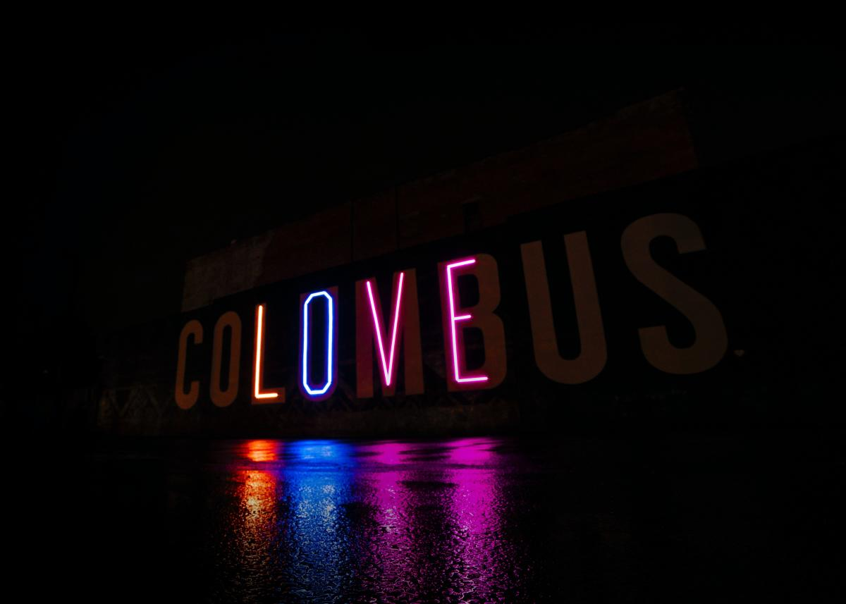 Columbus LOVE Mural lit at night