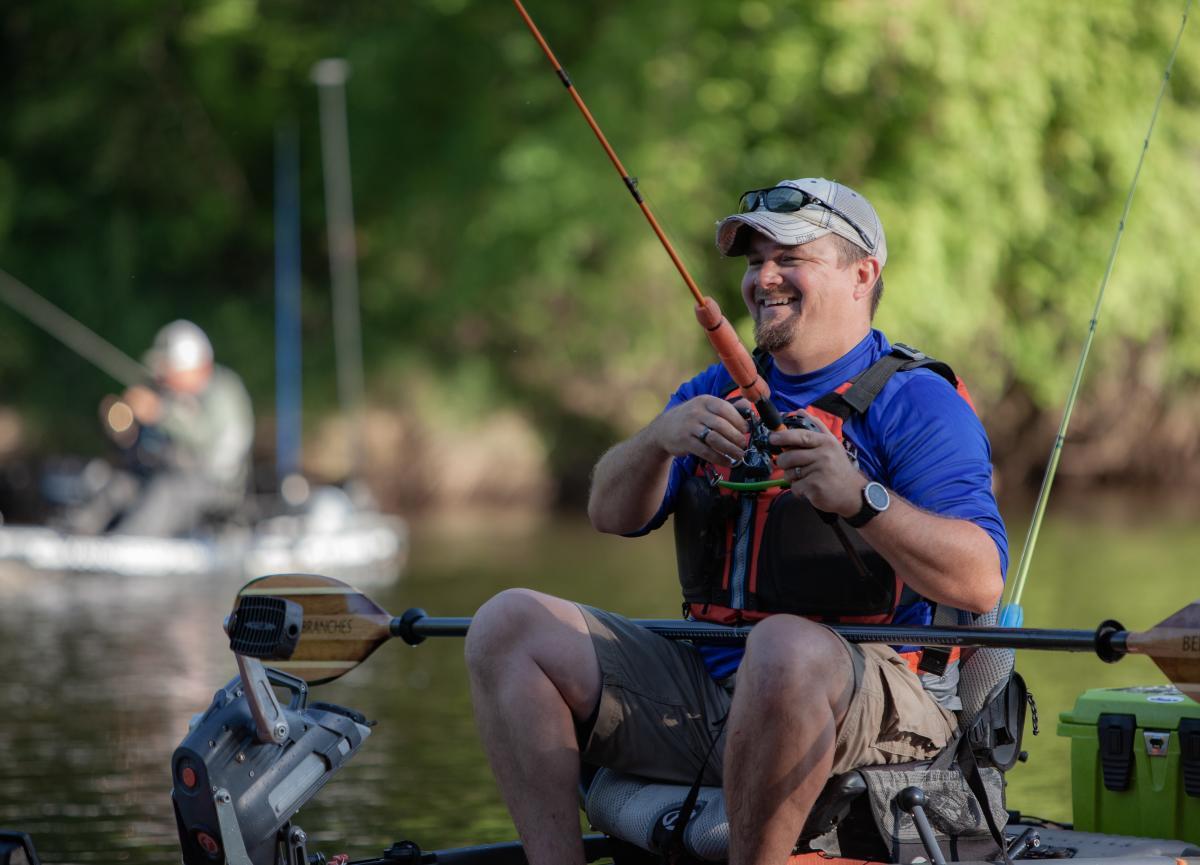 Kayak Bass Fishing in the river