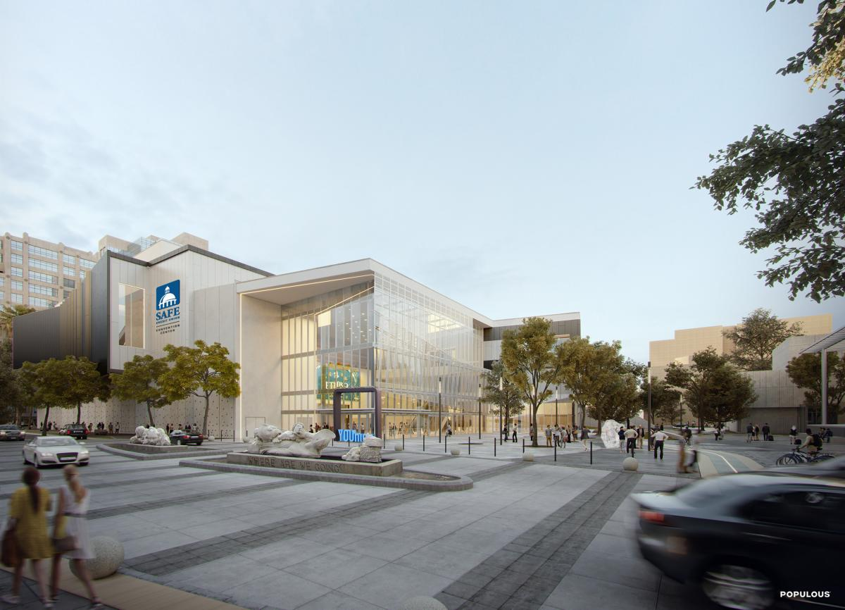 Rendering of the newly expanded and renovation SAFE Credit Union Sacramento Convention Center