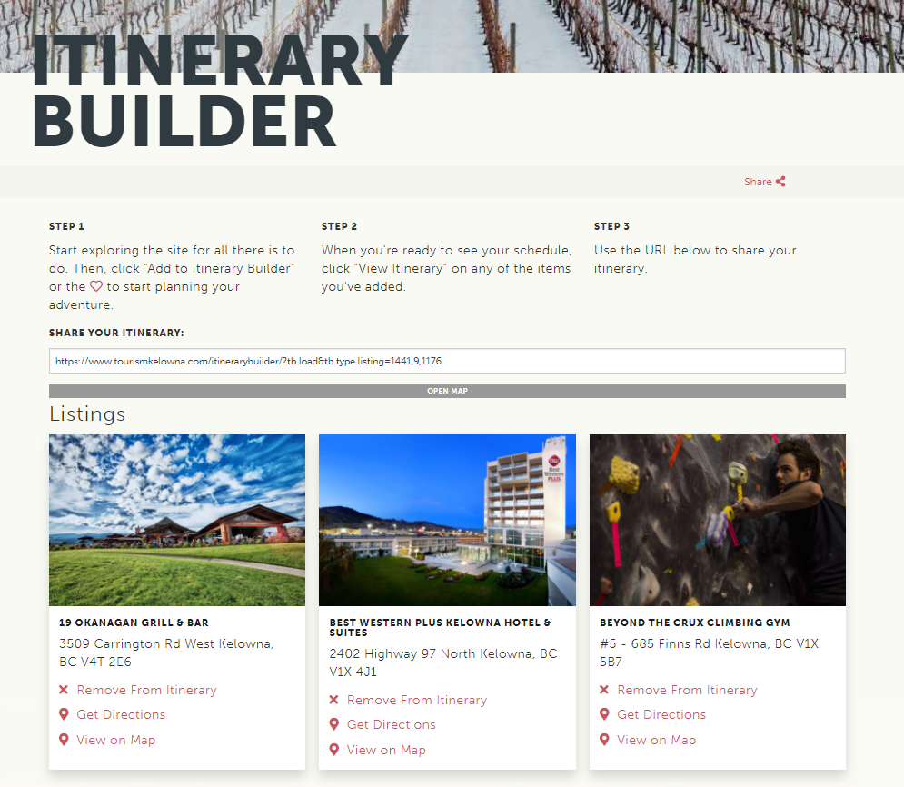 Itinerary Builder Page Example
