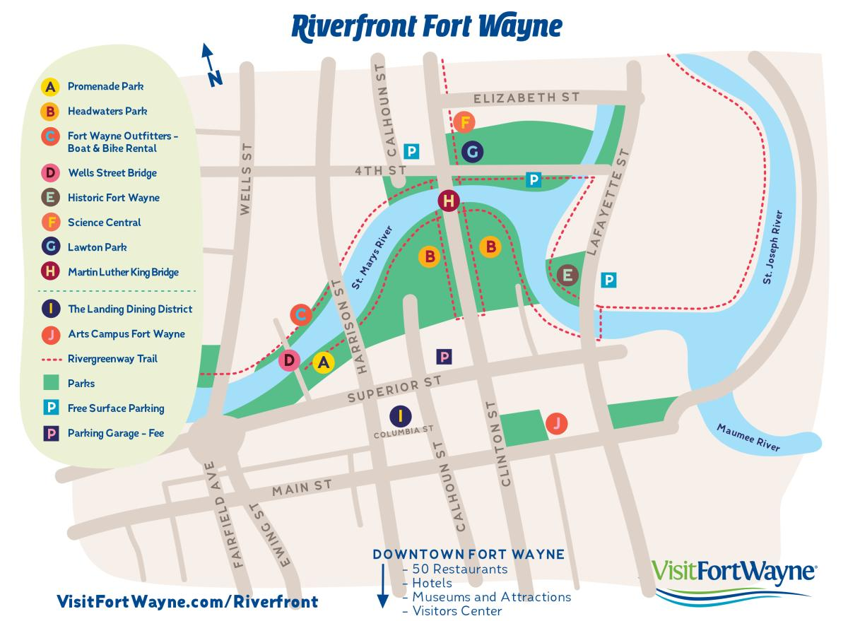 Riverfront Fort Wayne Attractions and Parking Guide