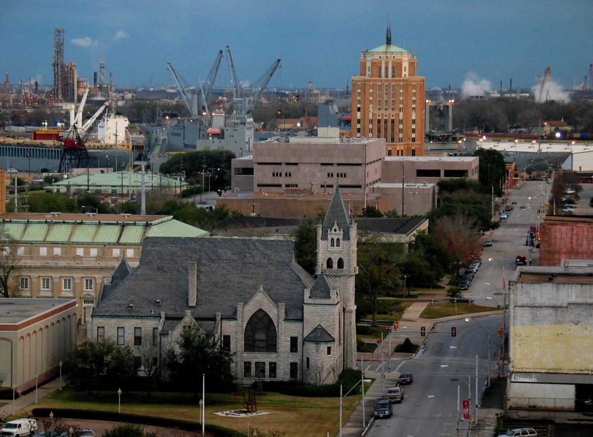 Aerial view of Downtown Beaumont