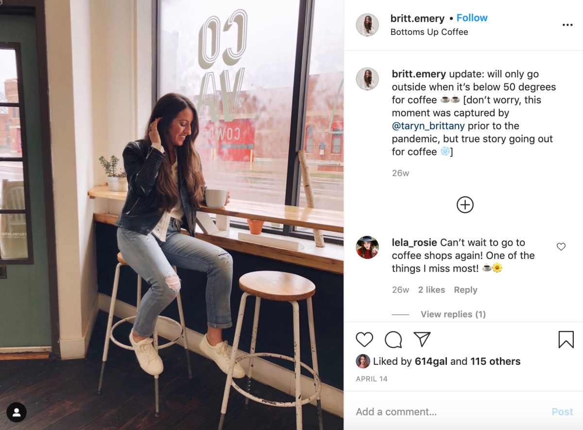 Instagram post about the coffee trail by Britt Emery