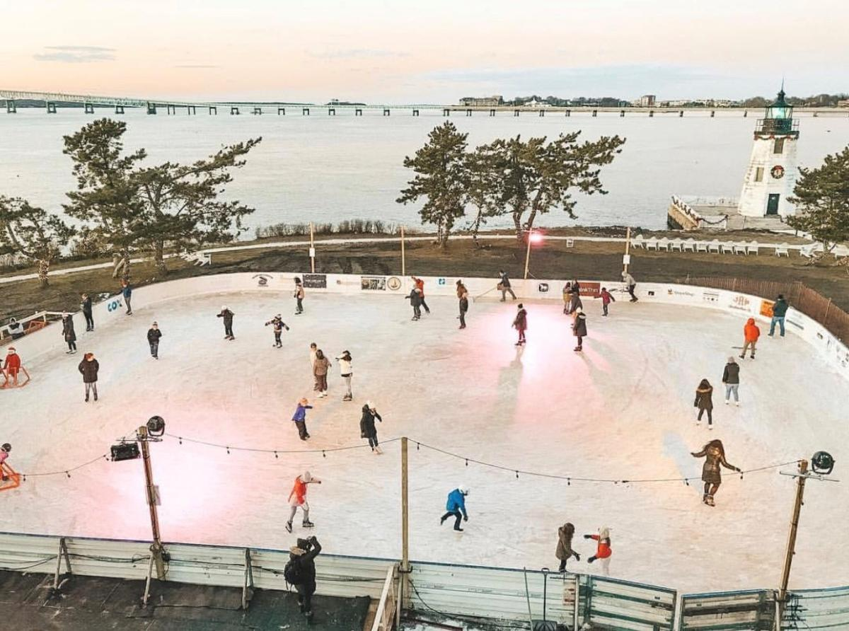 Gurney's Ice Skating Rink With People Skating