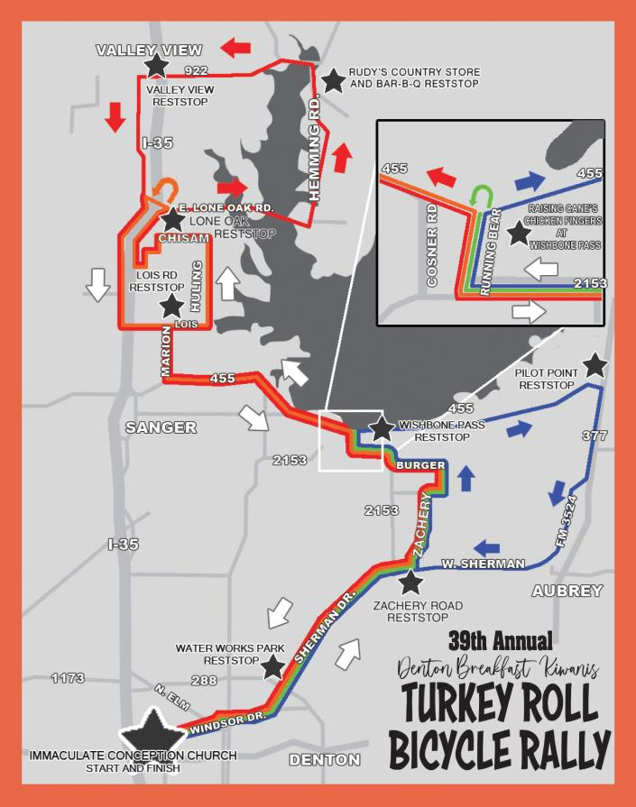 Turkey Roll Bicycle Rally Route