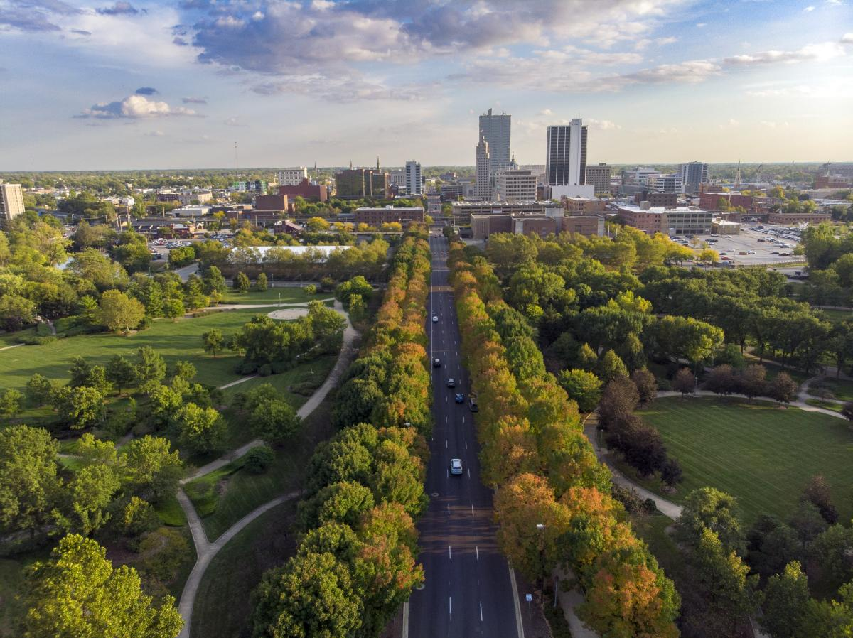 Aerial image of downtown Fort Wayne, Indiana during the fall.