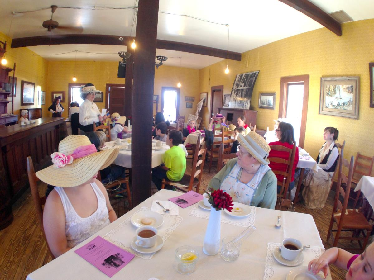 Ladies Tea inside Log Cabin Saloon at Spindletop