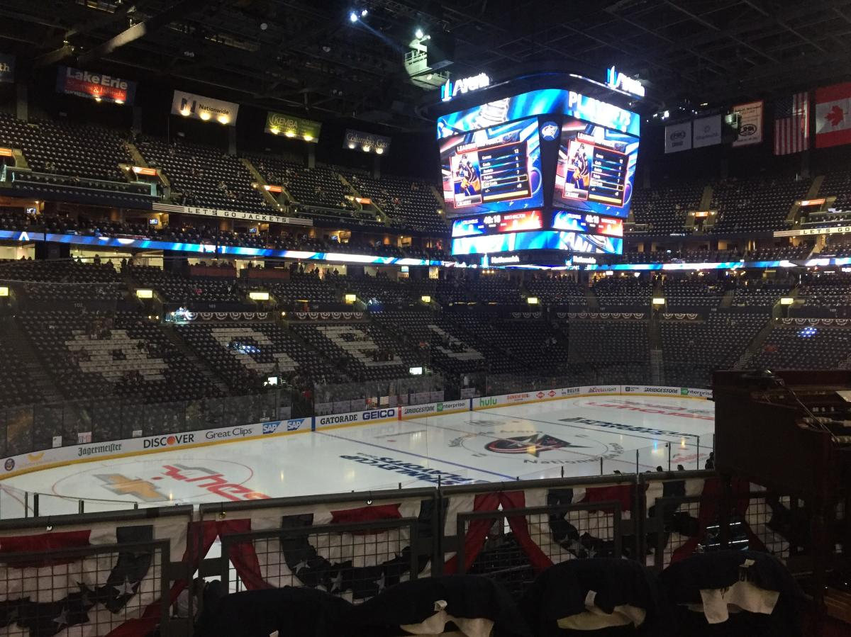 CBJ spelled out on seats at Nationwide Arena