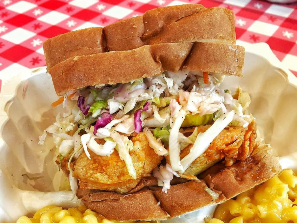 Chicken Sandwich and Double Mac & Cheese from Hot Chicken Takeover