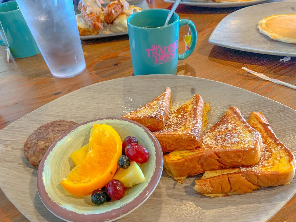 A plate of french toast from the Trading Post makes for a delicious vacation breakfast.