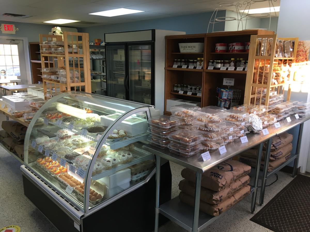 Display case of baked goods at Ed's Country Bakery