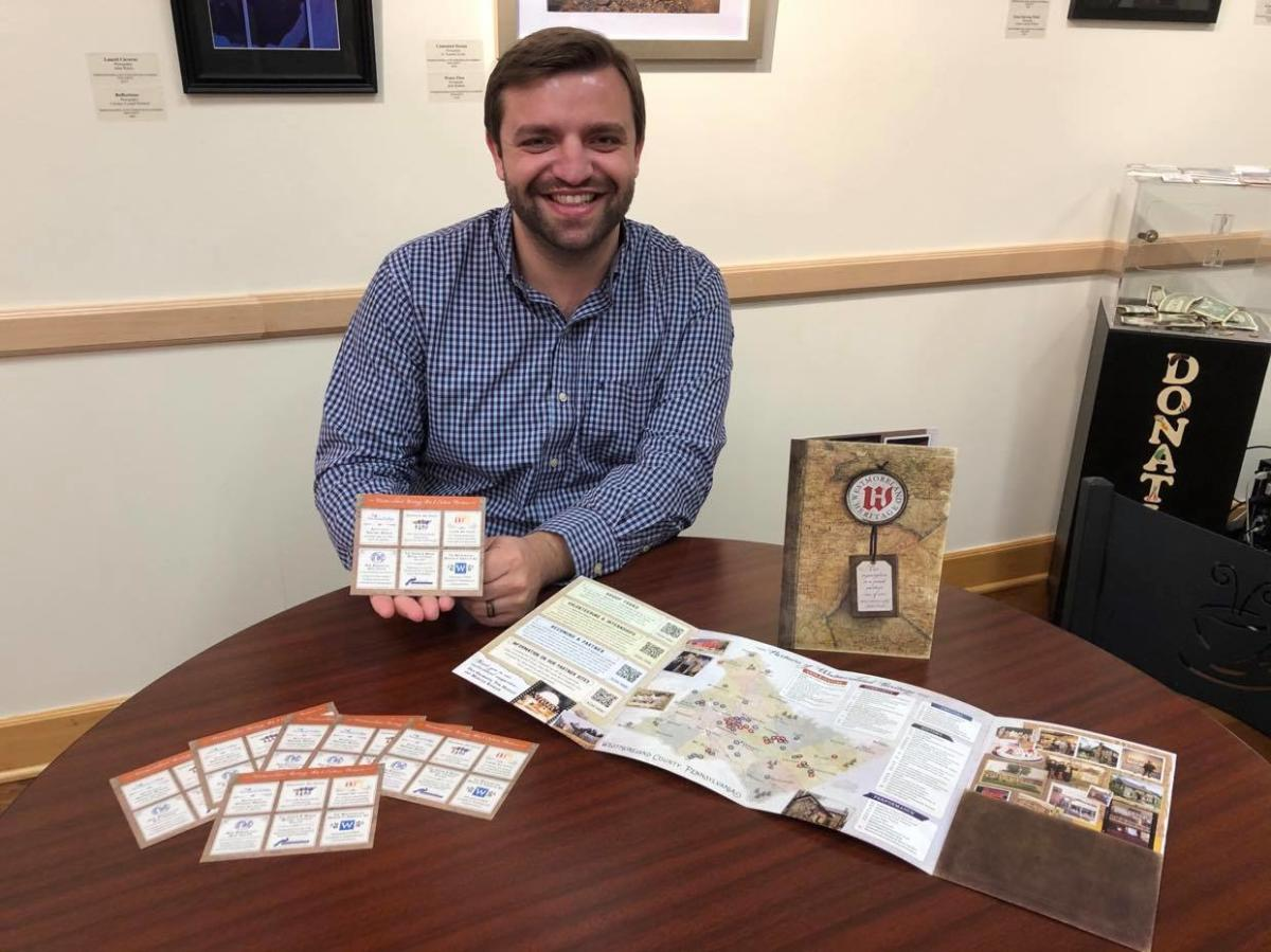 Michael Tusay at Latrobe Art Center with new Westmoreland Heritage Exploration Map and Collectibles