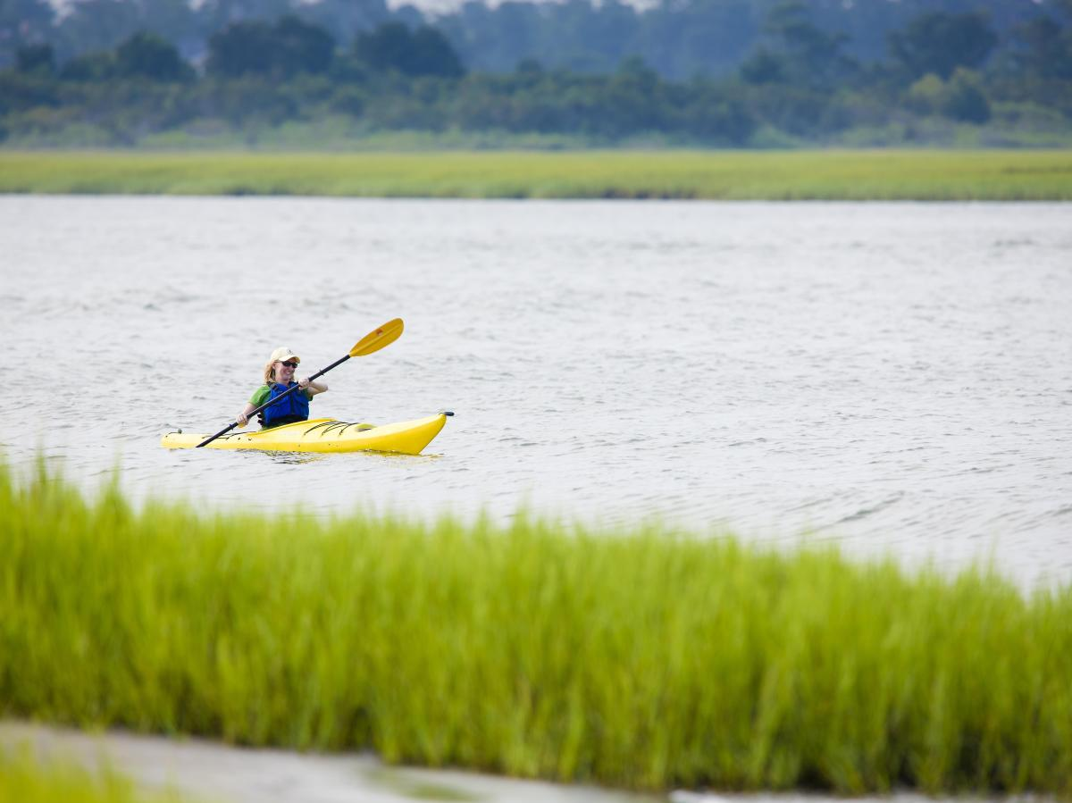 Kayaker in Wrightsville Beach Salt Marshes