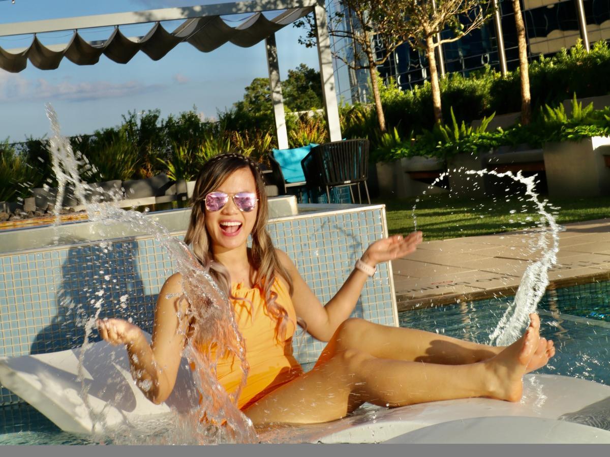 Splashing in the pool at The Westin