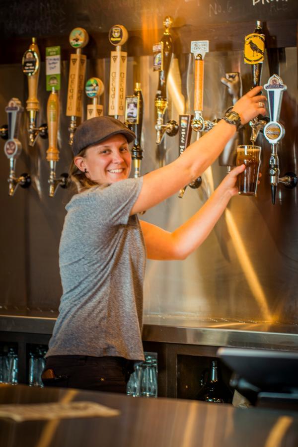Tina Schuett at Rare Bird Brewpub beer