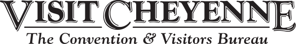 Black text that reads Visit Cheyenne in large letters, and smaller lettering under it that reads The Convention and Visitors Bureau