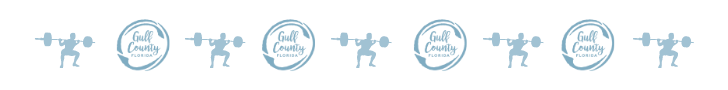 Gulf County circle logo with a cartoon weightlifter