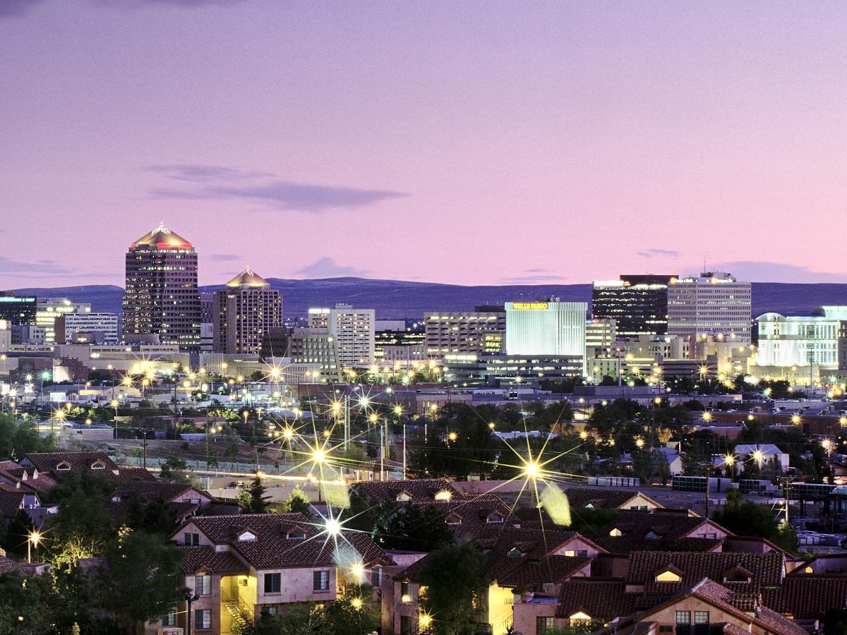 Albuquerque Skyline Purple Sunset cropped