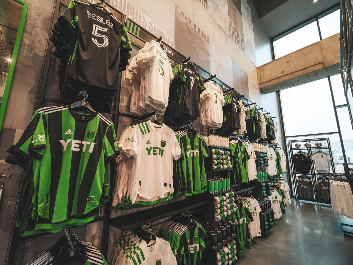 Austin FC jerseys on the wall at the Verde Store inside Q2 Stadium