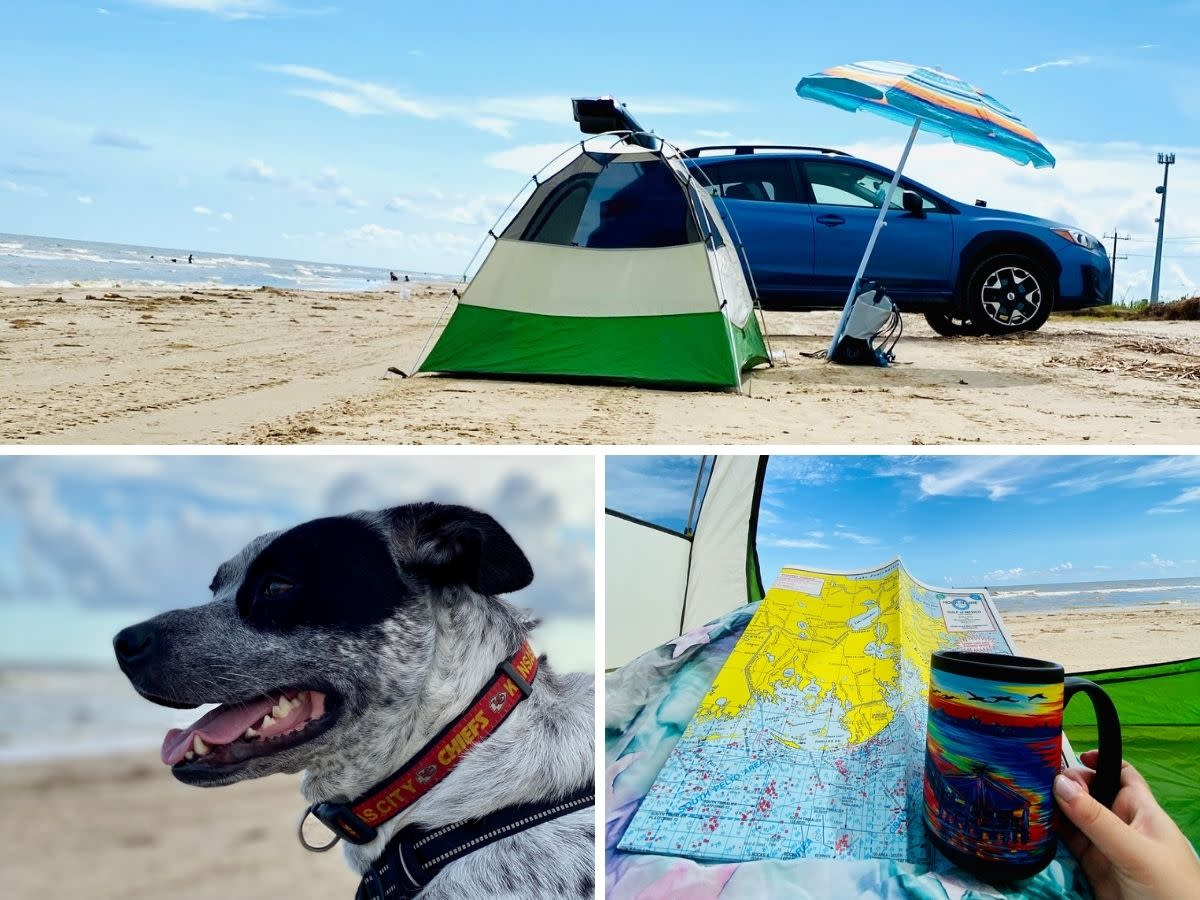 Visitors and their pup enjoy beach-side camping on Bolivar Peninsula in Texas.
