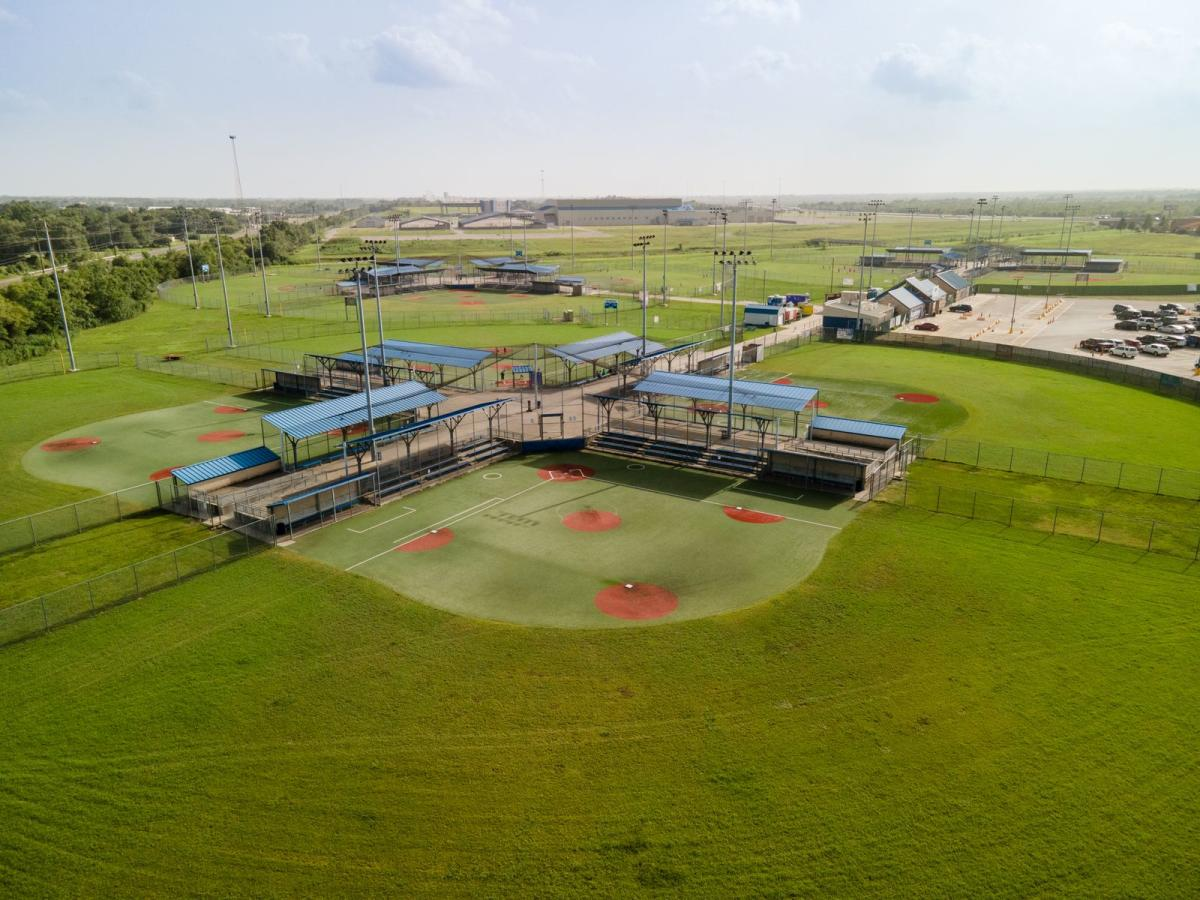 Aerial View Of Ford Park Bleachers In Beaumont, TX