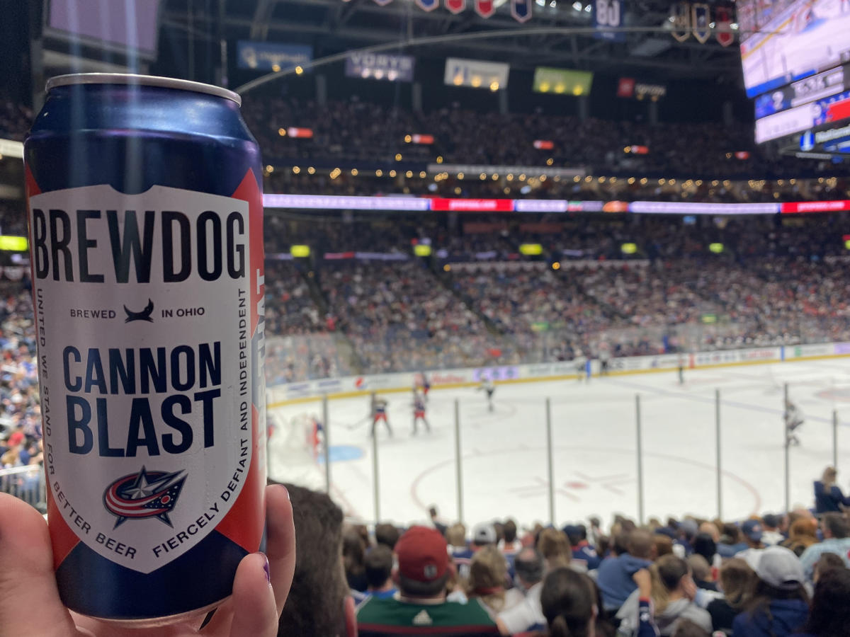 Can of BrewDog's CBJ Cannon Blast Beer at a CBJ game