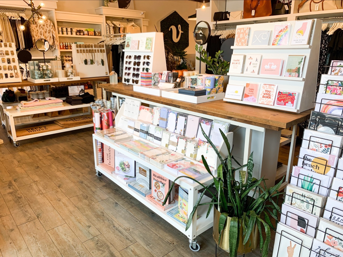Card and clothing displays at the Grandview Vernacular