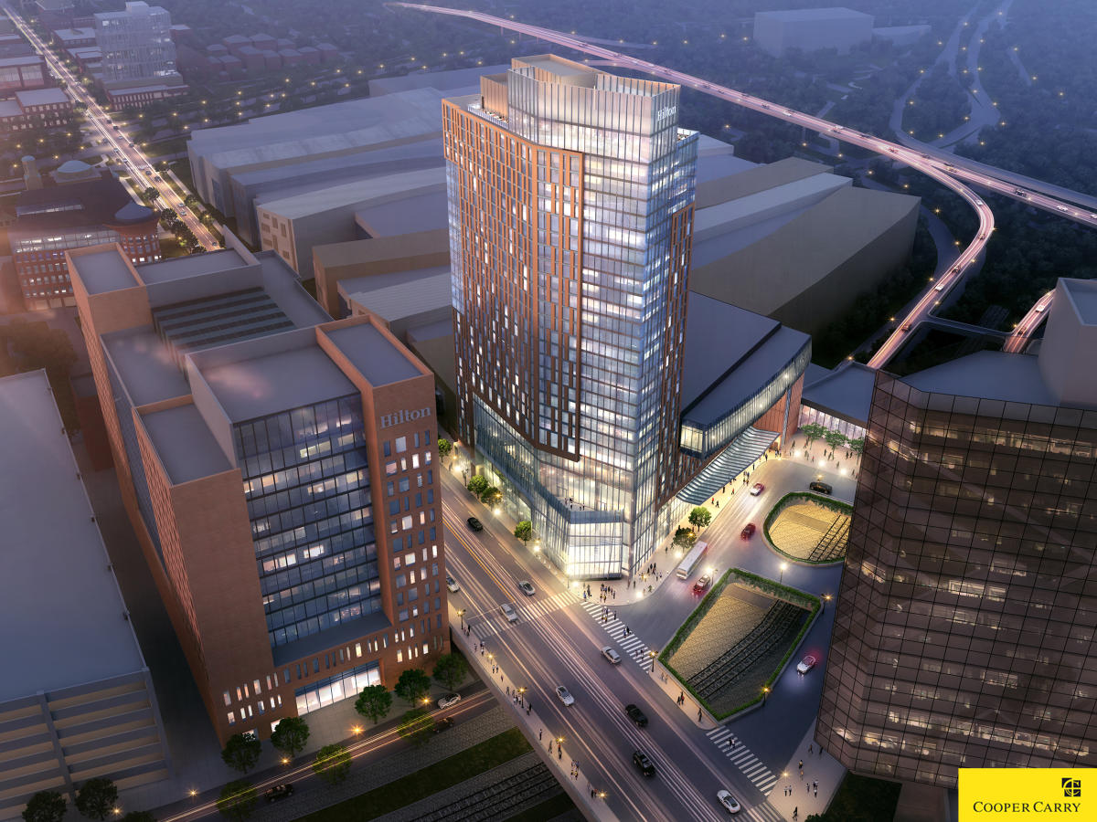 Hilton rendering - aerial view from southwest