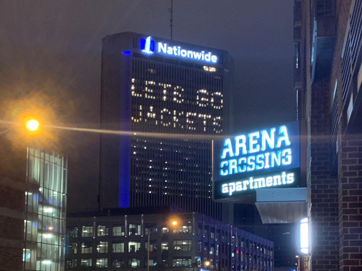 """Nationwide building lit with """"Let's Go Jackets"""""""