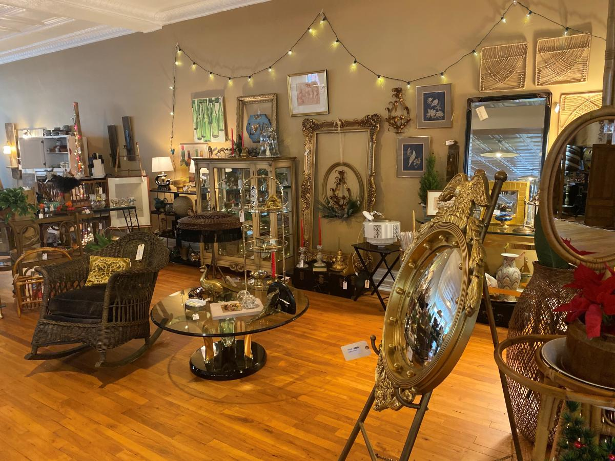 Inside of an antique shop at the Carlisle Antique Mall