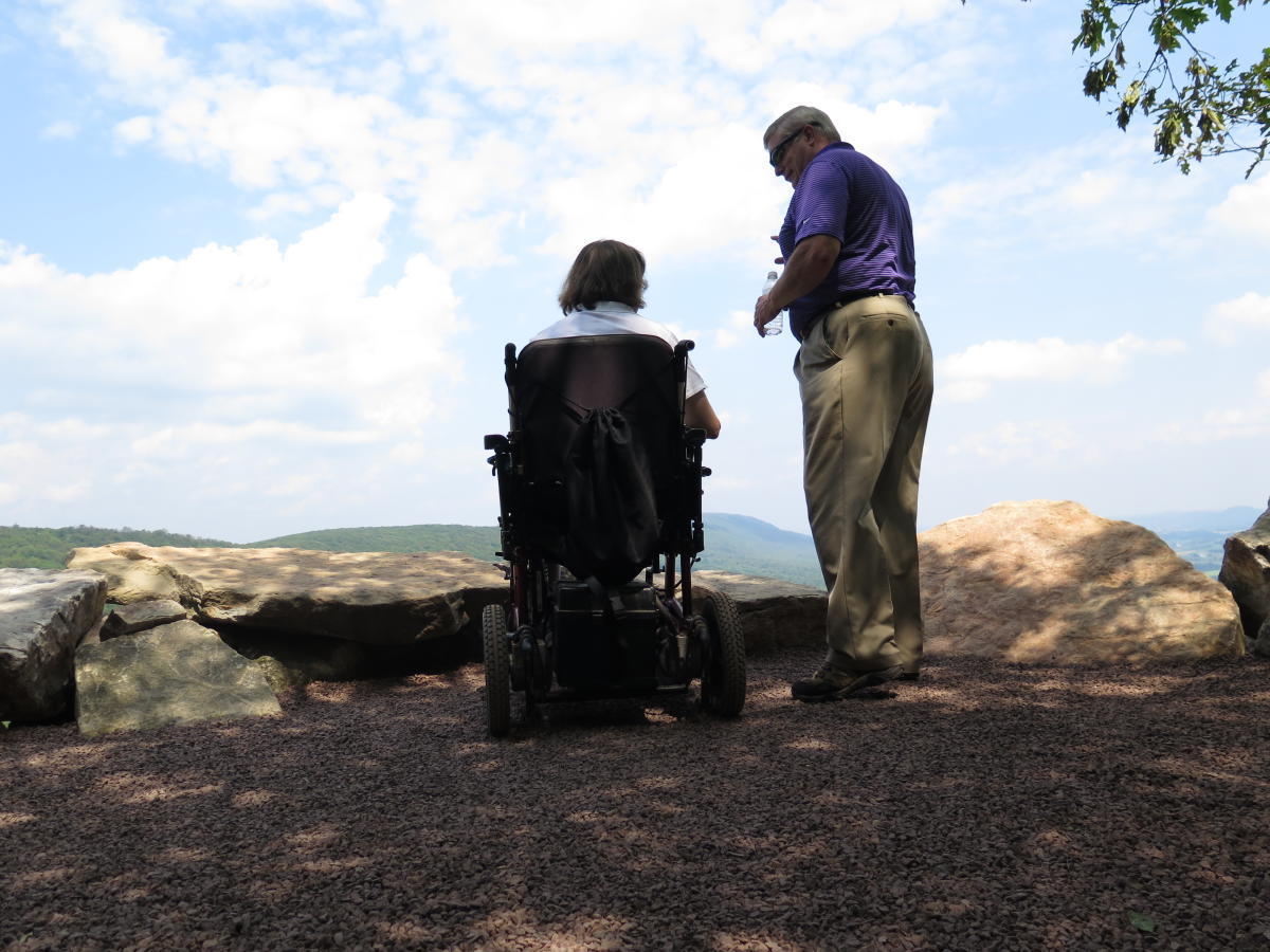 People of all abilities enjoy the view at Hawk Mountain in Lehigh Valley, PA