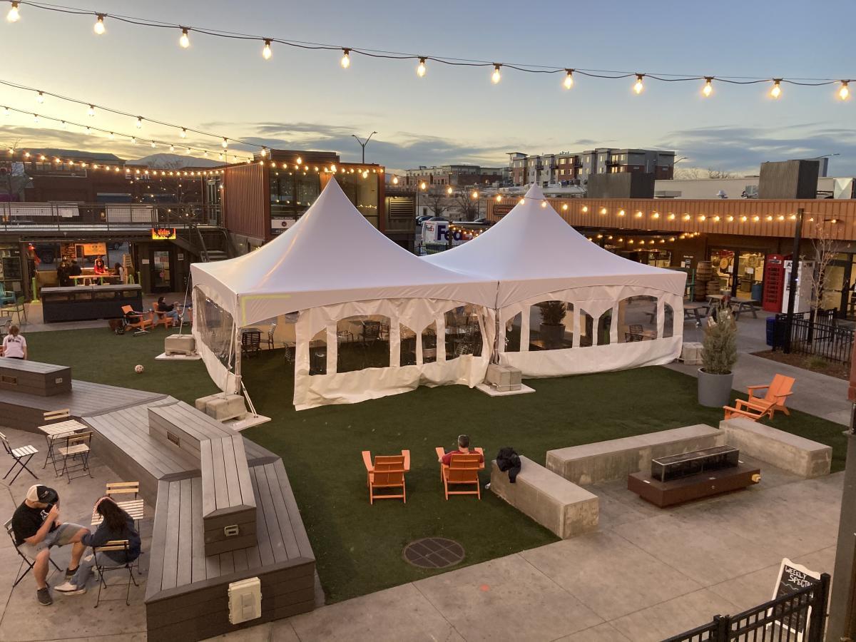 Exchange outdoor dining tent courtyard