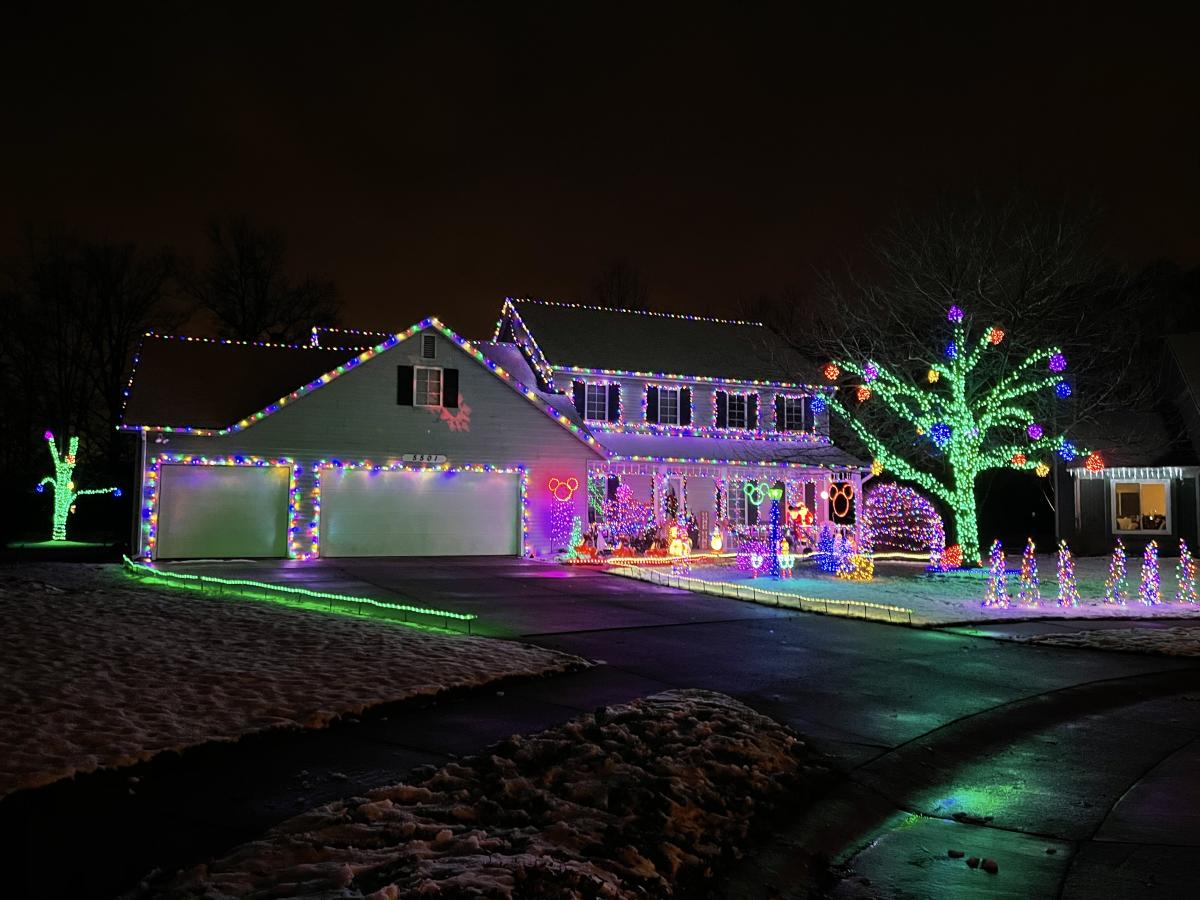 Christmas lights display at 5501 Chiswell Run in Fort Wayne, Indiana