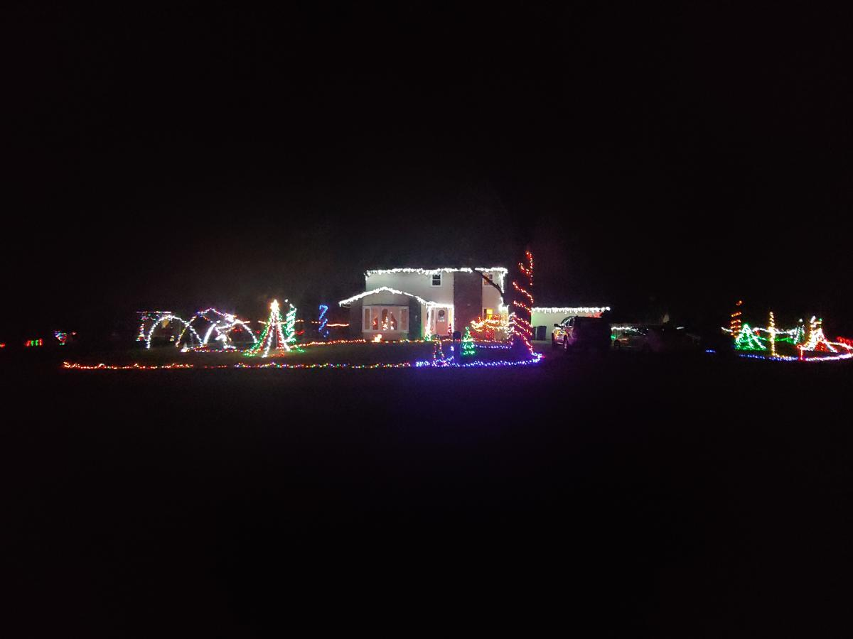 Christmas Light Display at 605 Halldale Drive in Fort Wayne, Indiana