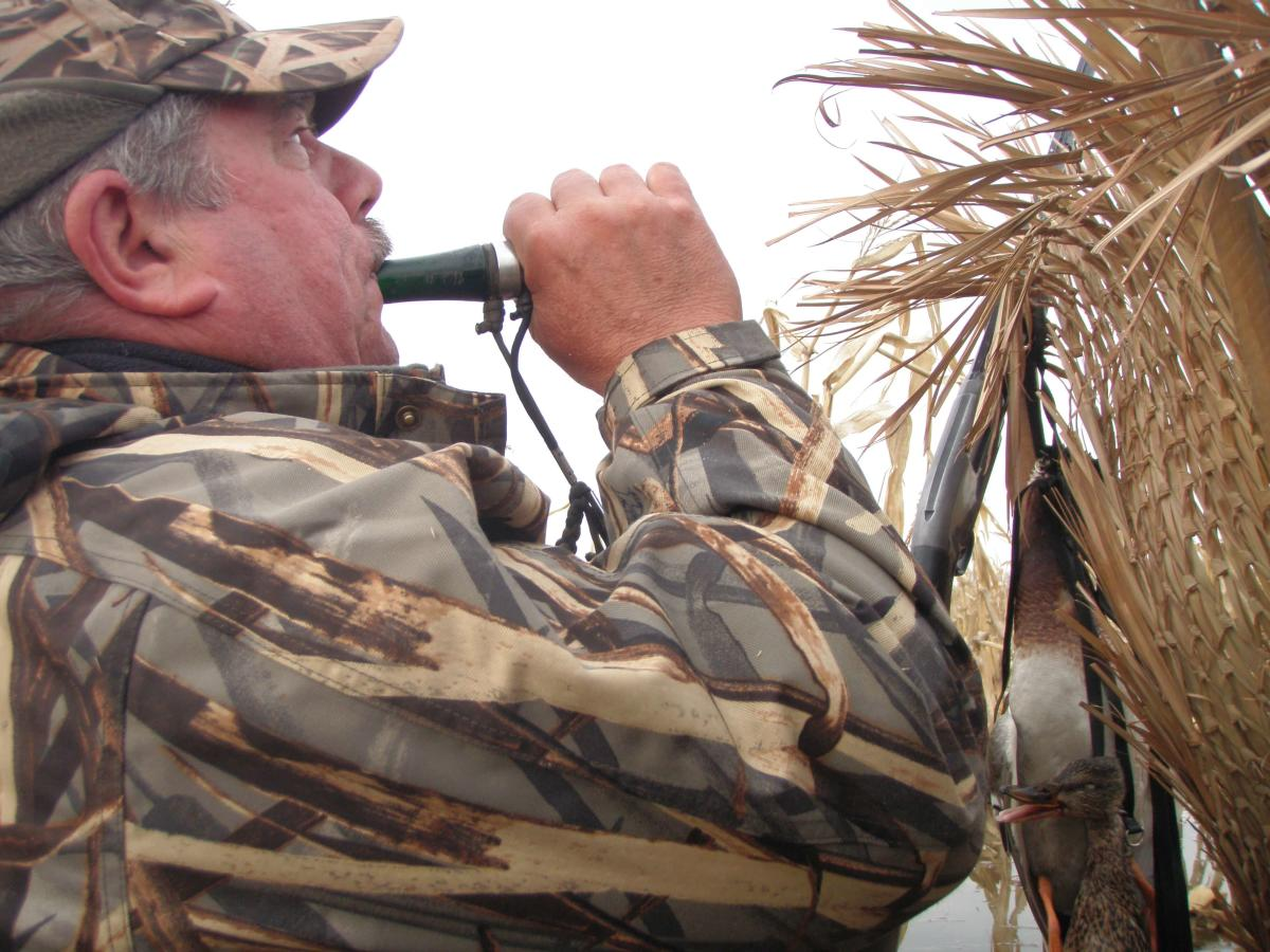 A hunter calls to ducks overhead at the Shiawassee River State Game Area