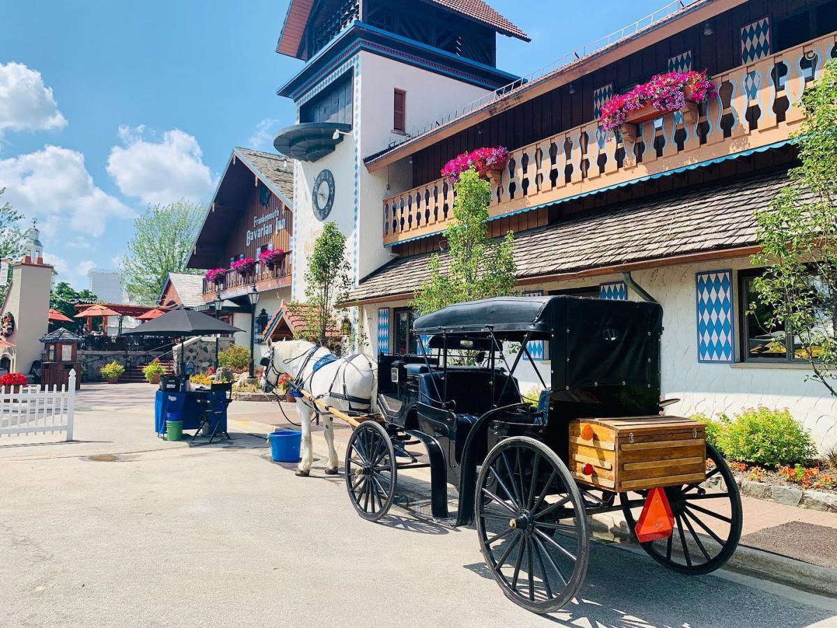 Horse-drawn carriage in front of Bavarian Inn Restaurant in Frankenmuth